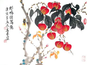 Chinese Lychee Painting,34cm x 46cm,2563002-x
