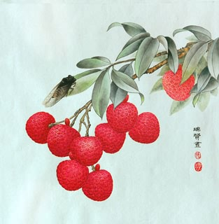 Chinese Lychee Painting,33cm x 33cm,2610001-x