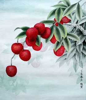 Chinese Lychee Painting,33cm x 33cm,2610002-x