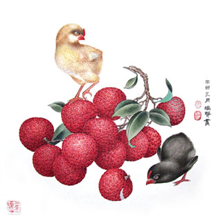 Chinese Lychee Painting,33cm x 33cm,2610003-x