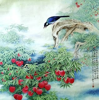 Chinese Lychee Painting,66cm x 66cm,2610005-x