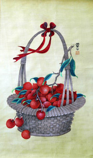 Chinese Lychee Painting,35cm x 60cm,2610006-x