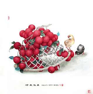 Chinese Lychee Painting,66cm x 66cm,2610009-x