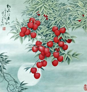 Chinese Lychee Painting,66cm x 66cm,2610010-x