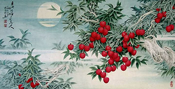 Chinese Lychee Painting,66cm x 136cm,2610013-x