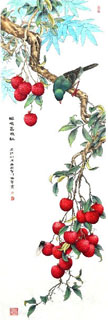 Chinese Lychee Painting,30cm x 100cm,2610018-x
