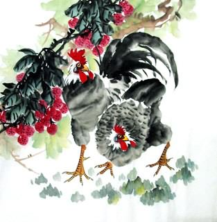 Chinese Lychee Painting,69cm x 69cm,2614051-x