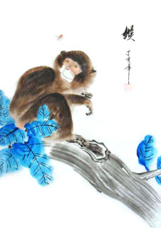 Chinese Monkey Painting,28cm x 35cm,4336004-x