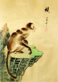 Chinese Monkey Painting,28cm x 35cm,4336007-x
