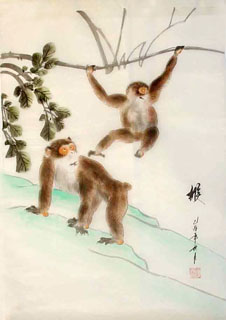 Chinese Monkey Painting,55cm x 40cm,4336012-x