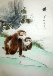 Chinese Monkey Painting,55cm x 40cm,4336013-x