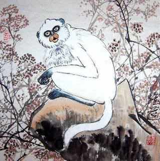 Chinese Monkey Painting,45cm x 45cm,4367027-x