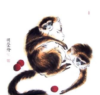 Chinese Monkey Painting,50cm x 50cm,4374018-x