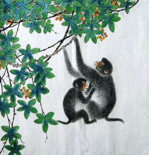 Chinese Monkey Painting,69cm x 69cm,4449029-x