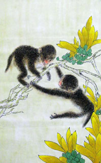 Chinese Monkey Painting,69cm x 46cm,4449030-x