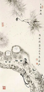 Chinese Monkey Painting,69cm x 34cm,4493007-x