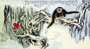 Chinese Monkey Painting,50cm x 100cm,4498001-x