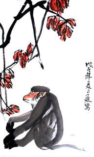 Chinese Monkey Painting,50cm x 90cm,4499001-x