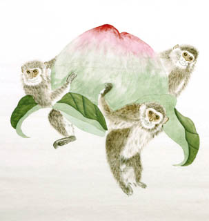 Chinese Monkey Painting,66cm x 66cm,4616005-x