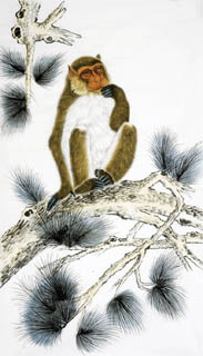 Chinese Monkey Painting,70cm x 120cm,4616006-x