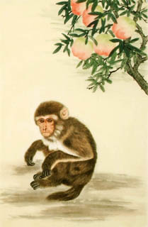Chinese Monkey Painting,69cm x 46cm,4616007-x
