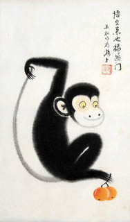 Chinese Monkey Painting,30cm x 50cm,4681001-x