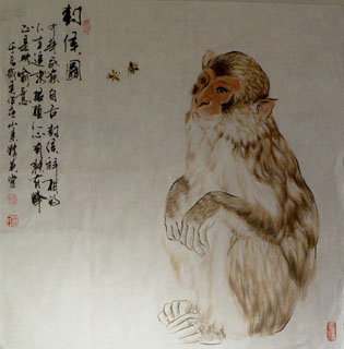 Chinese Monkey Painting,70cm x 70cm,4695039-x