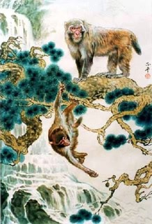 Chinese Monkey Painting,60cm x 90cm,4737037-x