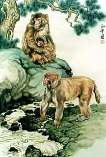 Chinese Monkey Painting,60cm x 90cm,4737047-x