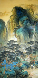 Chinese Mountain and Water Painting,69cm x 138cm,1002002-x