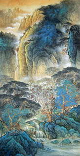 Chinese Mountain and Water Painting,69cm x 138cm,1002004-x