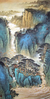 Chinese Mountain and Water Painting,69cm x 138cm,1002006-x