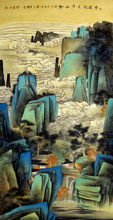 Chinese Mountain and Water Painting,100cm x 202cm,1002021-x