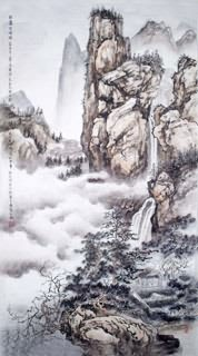 Chinese Mountain and Water Painting,50cm x 100cm,1006023-x