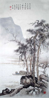 Chinese Mountain and Water Painting,50cm x 100cm,1006024-x