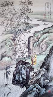 Chinese Mountain and Water Painting,50cm x 100cm,1006038-x