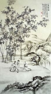 Chinese Mountain and Water Painting,50cm x 100cm,1006048-x
