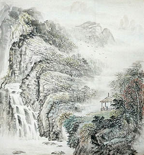 Chinese Mountain and Water Painting,50cm x 50cm,1011003-x