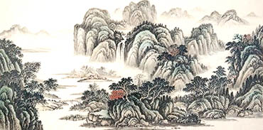 Chinese Mountain and Water Painting,68cm x 136cm,1011012-x
