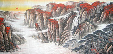 Chinese Mountain and Water Painting,90cm x 180cm,1011017-x