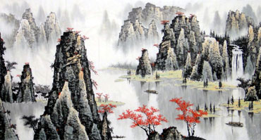 Chinese Mountain and Water Painting,97cm x 180cm,1016047-x