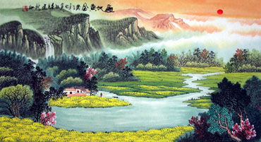 Chinese Mountain and Water Painting,50cm x 100cm,1016053-x