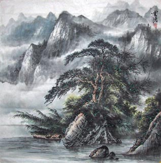 Chinese Mountain and Water Painting,66cm x 66cm,1024004-x