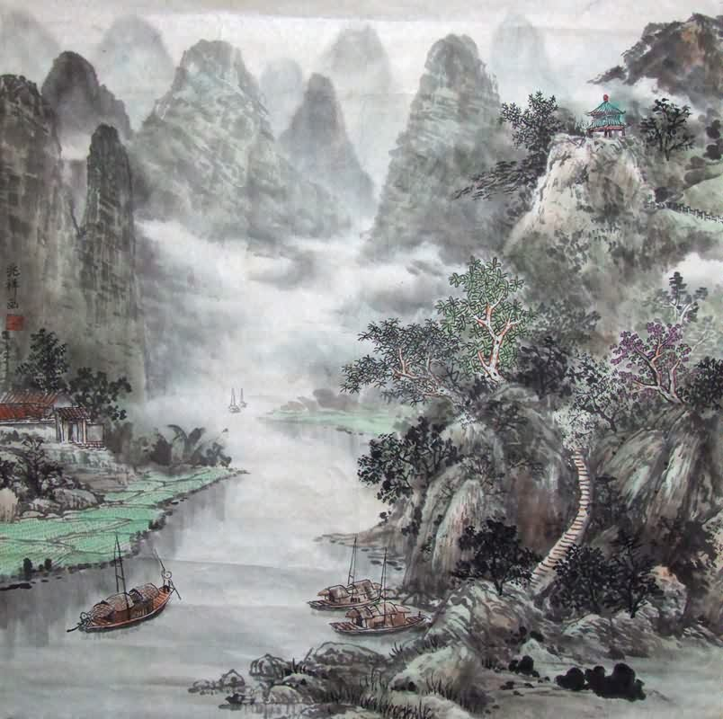 Chinese Mountain and Water Painting 1024005, 66cm x 66cm ...