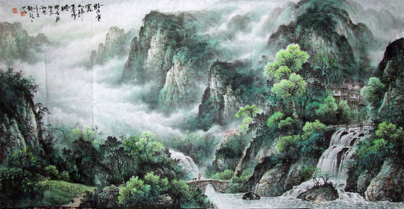 Chinese Mountain and Water Painting 1033004, 69cm x 138cm ...