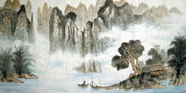 Chinese Mountain and Water Painting,69cm x 138cm,1049018-x
