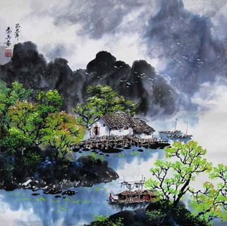 Chinese Mountain and Water Painting,60cm x 60cm,1061005-x