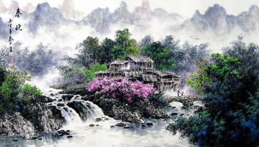 Chinese Mountain and Water Painting,60cm x 135cm,1061032-x