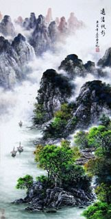 Chinese Mountain and Water Painting,69cm x 138cm,1061034-x