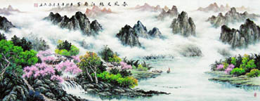 Chinese Mountain and Water Painting,70cm x 180cm,1061038-x